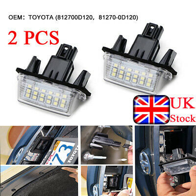 2x LED Rear License Plate Lamp Light Assembly Fit For Toyota Auris Yaris Avensis • 7.99£