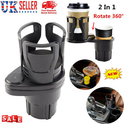 Car Cup Holder 2 In 1 Vehicle Mounted Holder Extendable Cup Holde Rotatable Base • 9.69£