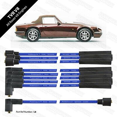 V8 8mm Blue HT Leads Performance Double Silicone Leads TVR Rover V8 Etc • 19.95£