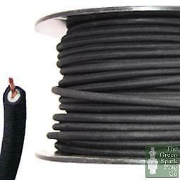 7mm HT Ignition Lead Cable - Wire Core Cotton Braided Black • 4.28£