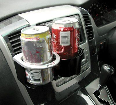 Type S Car Van Interior Twin Combo Drink Cup Can Holder Silver Clips Onto Vent • 6.99£