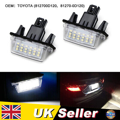 2x LED Licence Number Plate Light White For Toyota Avensis Verso Yaris Auris UK • 7.79£