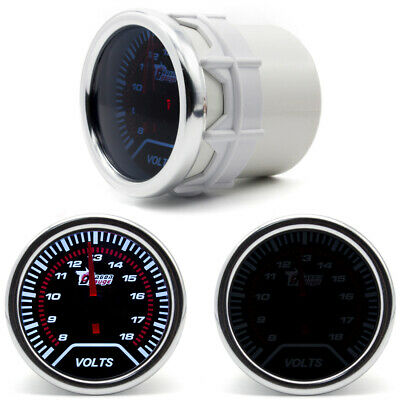 2  52mm Lally Race Car 12V Volt Meter Gauge Voltage Dial Black Face W/ LED Light • 13.90£