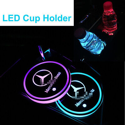 2X RGB LED Car Cup Holder USB Interior Decoration Atmosphere Lights Accessories • 12.79£