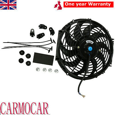12 Inch Universal Radiator Cooling Fan Electric Push Pull Curved Blade 80w • 113.88£