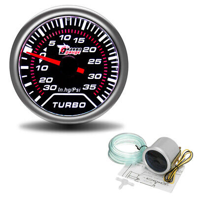 2'' 52mm Turbo Boost 30Psi Pob LED Pressure Pointer Gauge Meter Dials Smoked UK • 14.68£