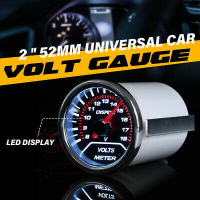 2  52MM UNIVERSAL CAR AUTO MOTOR White LED VOLTAGE VOLT GAUGE METER SMOKE / • 15.59£