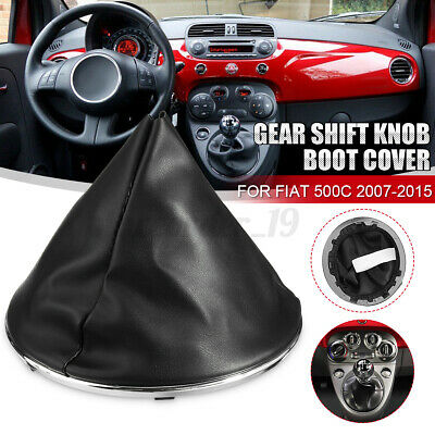 For Fiat 500C 2007-2015 Car Gear Gaiter Shift Boot Black Pu Leather Stitching • 9.59£