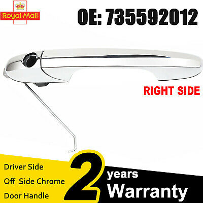 735592012 / Fiat 500 Drivers Side Outer Door Handle (UK) - Chrome - Offside  • 17.29£