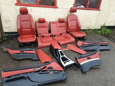 BMW E92 Heated M Sport Red Leather Interior Seats With Door Cards • 450£