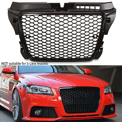 Rs Style Black Badgeless Debadged Race Mesh Grill Grille For Audi A3 8p 09-11 • 119.99£