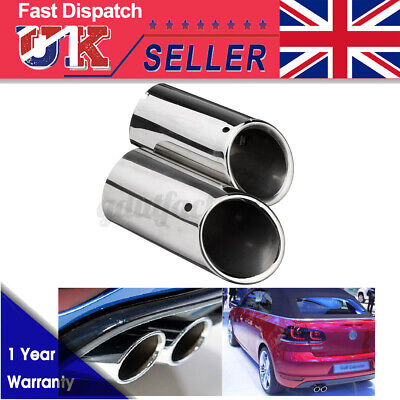 2pc Stainless Steel Exhaust Tail Trim Muffler Pipe Tip For VW Golf Mk6 MK7  • 14.13£