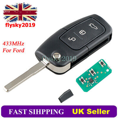 3 Button Remote Key Fob Chip For Ford MONDEO FOCUS CMAX GALAXY FIESTA 433MHZ • 10.99£