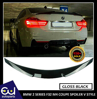 Bmw 4 Series F82 M4 Coupe Spoiler V Style Rear Boot Lip Gloss Black 100% Fit • 59.99£