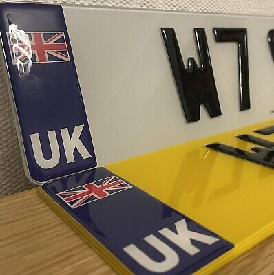 Pair Of Number Plates 3D Gel GB Union Jack Front And Rear Raised Domed Black • 28.99£