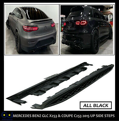 Mercedes Benz Glc X253 & Coupe C253  2015 Up Side Steps Running Boards All Black • 159.99£