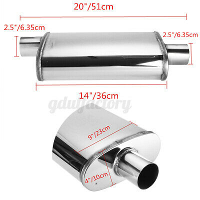 2.5  63mm 4 X 9 Oval 14  Long 304 Stainless Steel Profusion Exhaust Muffler • 52.43£