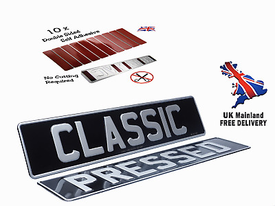 X2 Classic Black & Silver Metal Pressed Car Number Plates, Free Sticky Pads • 17.99£