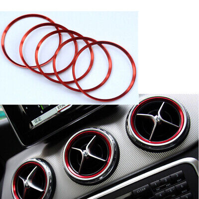 5Pcs/Set Air Vent Outlet Ring Cover Trim Red For Mercedes Benz A/B/CLA/GLA Class • 7.35£