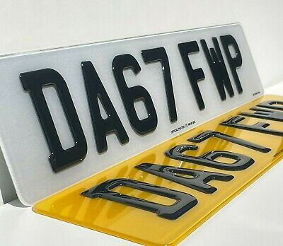 3D Gel Number Plates Front And Rear For Car Van - Gloss Black Domed Resin Pair • 26.99£