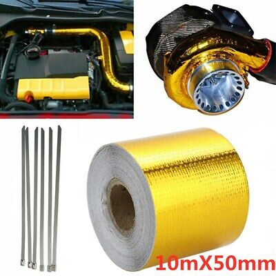 Heat Shield Wrap Tape Auto Exhaust Pipe Adhesive Reflective Foil Gold 10mx50mm • 6.99£
