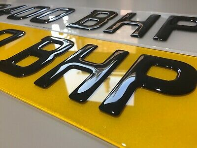 Gel 3D Number Plates Front And Rear For Car Van - Gloss Black Domed Resin Pair • 23.99£