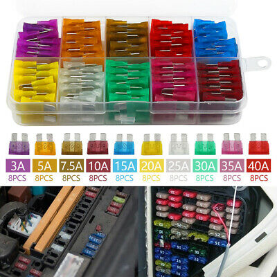 80x 12V Standard Blade Car Fuses 3 5 7.5 10 15 20 40 A Assorted Set + Puller Xy • 4.39£