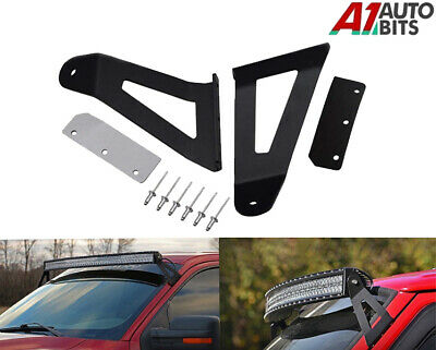 Pair Curved LED Light Bar Windshield Mount Brackets Roof Support Offroad NEW UK • 29.99£
