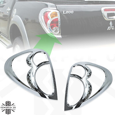 2x Chrome Rear Light Guards For Mitsubishi L200 2006-2016 Upgrade Trim Surrounds • 24£