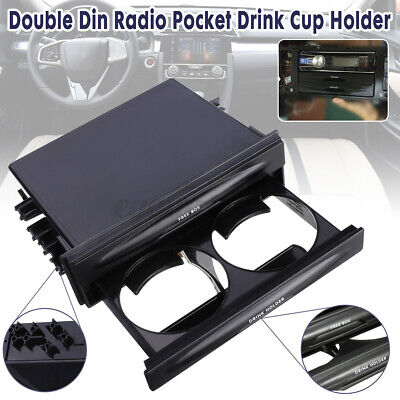 Universal Car Truck Double Din Radio Pocket Drink-Cup Holder Storage Box • 7.59£