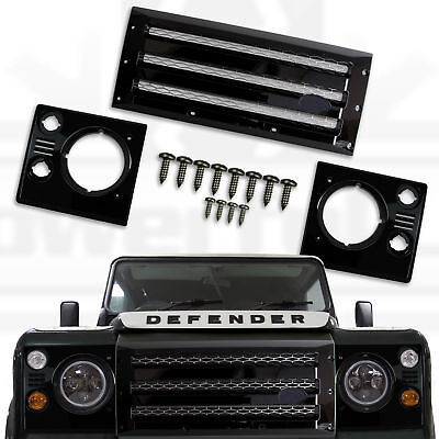 XS Front Grille+head Lamp Surrounds For Land Rover Defender Black Silver  • 165.80£